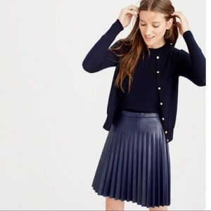 NWT J crew Pleated Faux Leather Mini Skirt in Navy